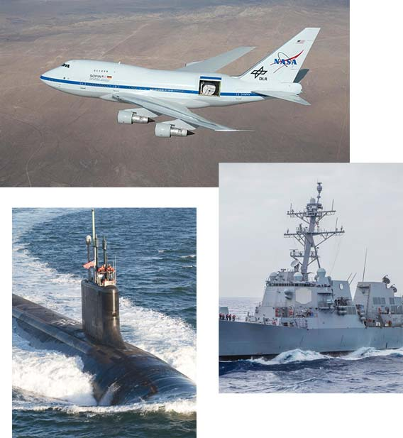 A photo collage representing applications for military and aerospace PDUs.