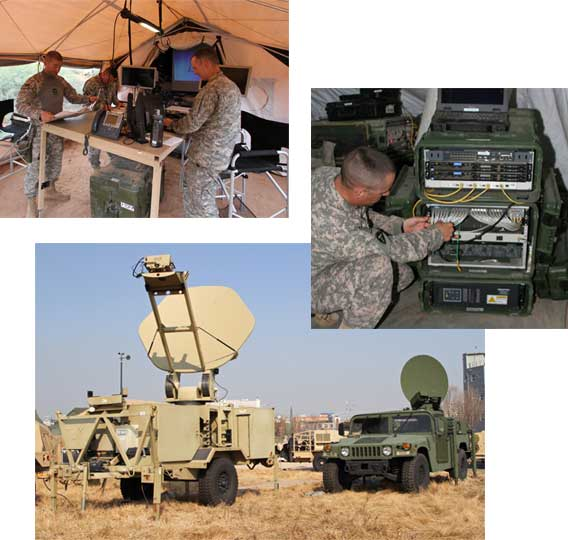 A photo collage representing applications for rugged PDUs in military vehicles, mobile camps, and other harsh environments.