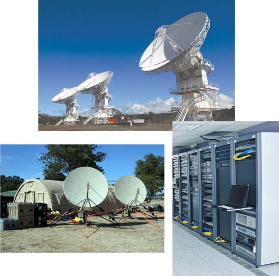 A photo collage representing applications for PDUs in satellite ground segment.