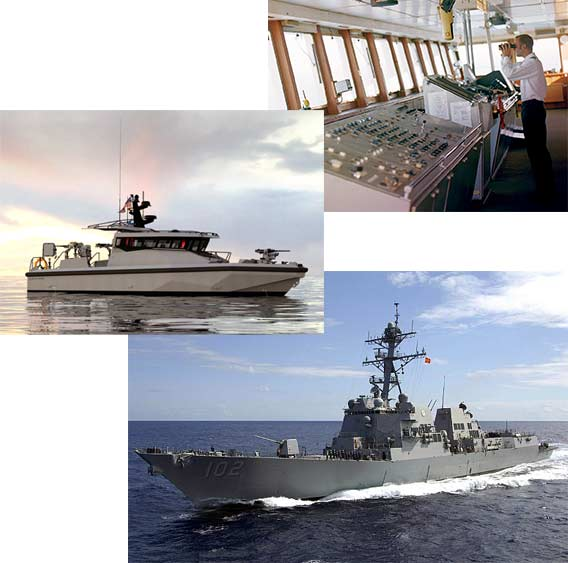 A photo collage representing applications for PDUs in military ships and submarines, non-military work boats, and pleasure craft.