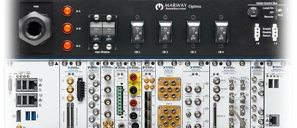 A Marway PDU adjacent a PXI test equipment chassis.