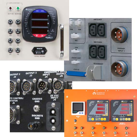 A collage of various connectors and controls used on industrial PDUs.