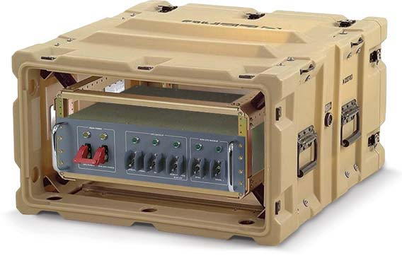 A photo of a military pdu in a small, rugged transit case.
