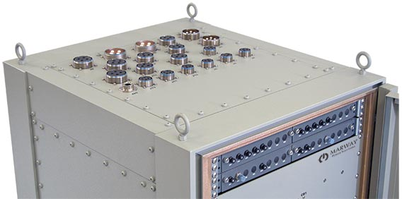 A photo of the top of a power distribution rack built for a navy shipboard application to withstand the shock and vibration of a combat application.
