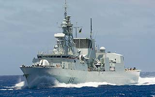 A Canadian navy ship with the RAMSES system installed including Marway's PDU.
