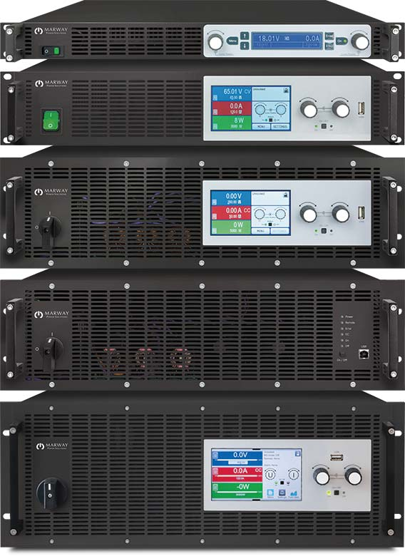 A photo of Marway mPower DC power supplies Series 300, 310, 320, and 311 available up to 30 kW.