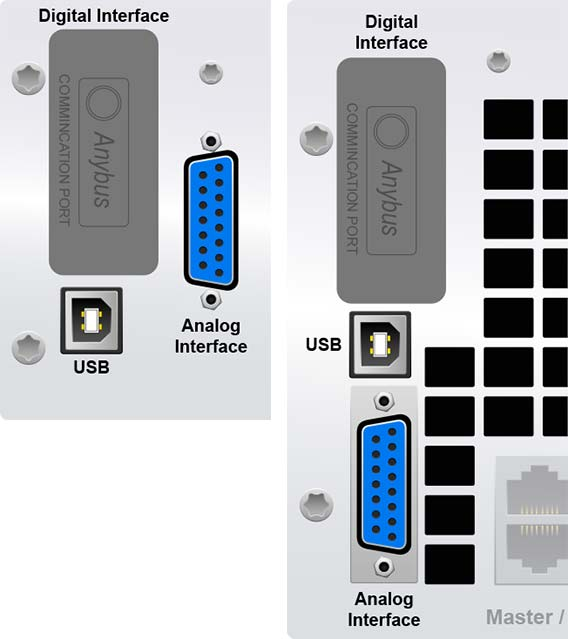 A closeup of the mPower 310 2U and 3U remote interfaces with AnyBus showing the cover plate.