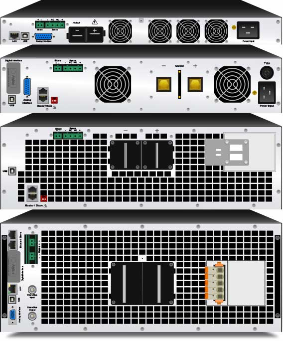 The back panels of four mPower dc power supplies.