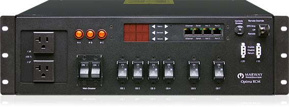 Marway's Optima 833 intelligent three-phase PDU front panel.