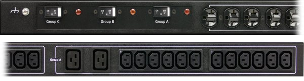 A cropped closeup of Optima 529/539 smart PDU outlets and breakers.
