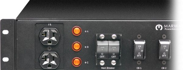 A cropped photo of the Optima 532 2U industrial PDU control panel.