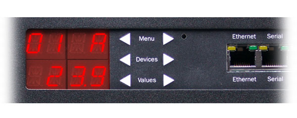 A cropped closeup of Marway's RCM 1U smart PDU display and keypad.