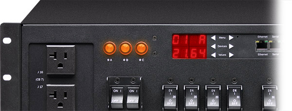 A cropped closeup of Marway's Optima 833 3U smart 3-phase 30-amp PDU control panel.