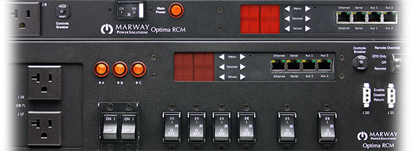 A cropped closeup of Marway's 8 series smart PDU control panels.