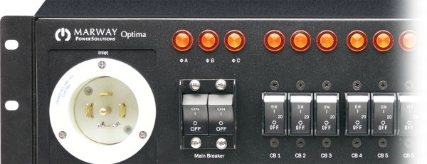 The front panel of one of Marway's Optima 833 3-phase PDUs.