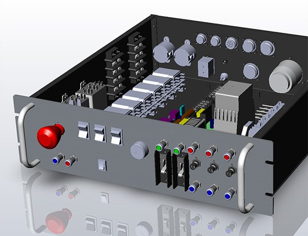 A 3D model rendering of a custom PDU.