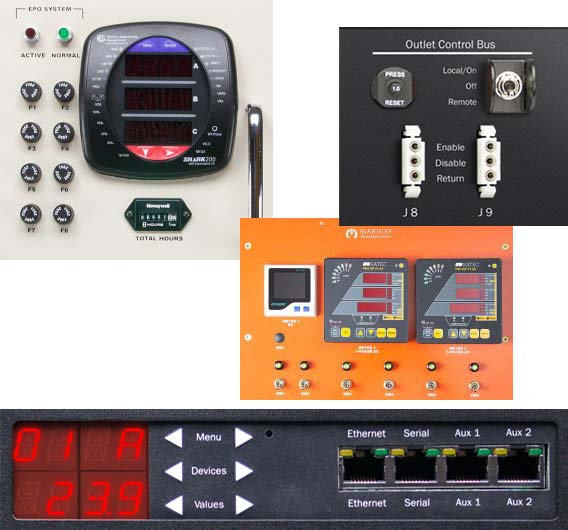 A collage of different control panel elements providing remote connectivity in custom PDUs.