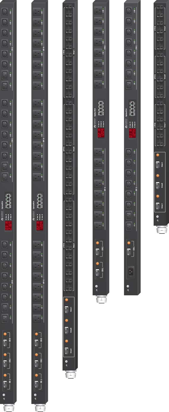 Marway 20-amp PDUs in various vertical 0U basic and smart configurations.