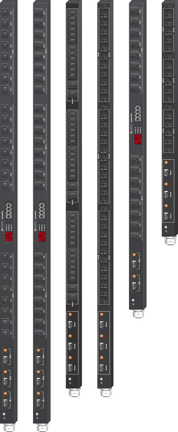 Marway 30-amp PDUs in various vertical 0U basic and smart configurations.