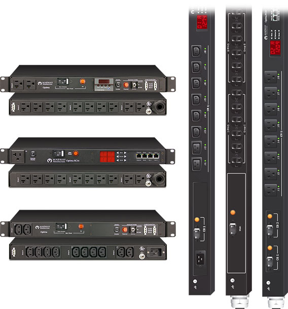 Product examples from the line of Optima single-phase standard industrial PDUs.