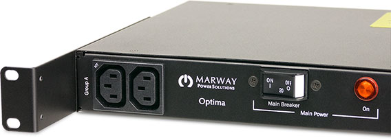 Marway 520 Series PDU with mounting bracket in recessed position.