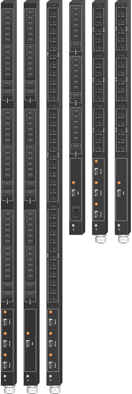 Product examples from the line of Marway's Optima 529 standard single-phase vertical PDUs.
