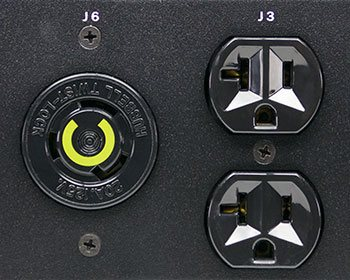 A closeup of the Optima 532 industrial PDU outlet groups.