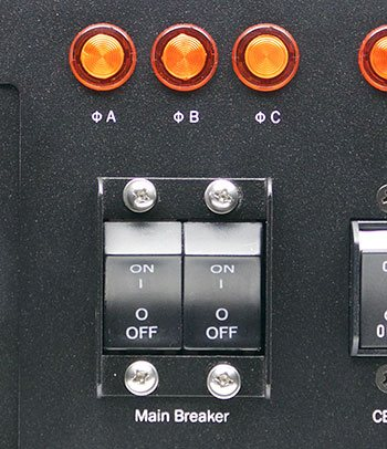A closeup of the Optima 532 industrial PDU main power controls.