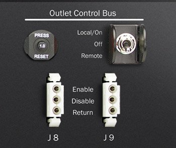 A closeup of the Optima 532 indutrial PDU remote EPO controls.