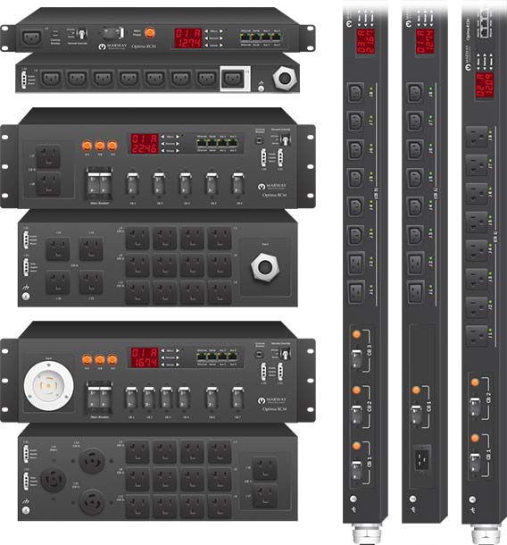 A photo of Marway standard basic and smart PDU products.