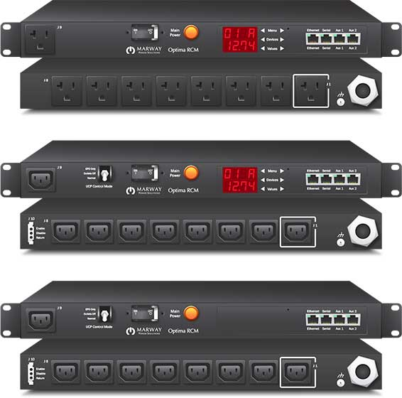 Product examples from the line of Marway's Optima 820 standard smart PDUs.