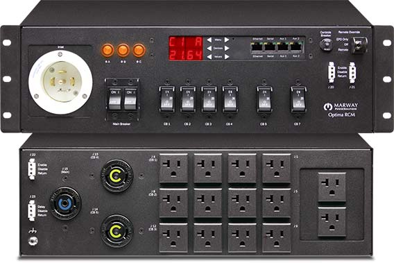 Marway 833 Series 30-amp PDU in a 3U chassis with ethernet software, remote EPO, EMI filter, and surge suppression.