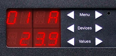 A closeup of Marway's RCM controller display and keypad.