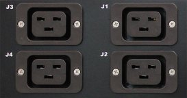 A cropped photo of IEC style outlets on a PDU.