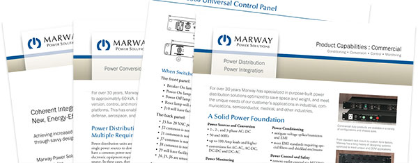 A collage of Marway technical papers.