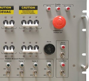 Photo closeup of a PDU control panel feature EPO, breakers, and manual outlet switches.