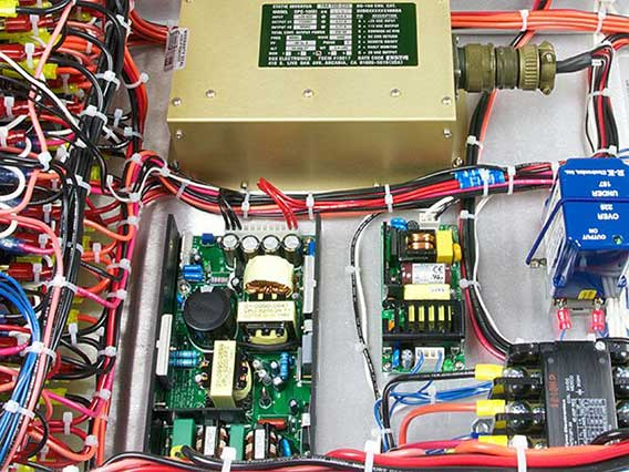 A photo of power supplies and an inverter installed in a power dictribution unit.