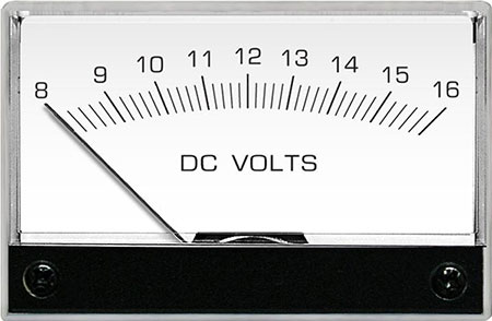 A photo of an analog meter used to show the value of DC voltage.