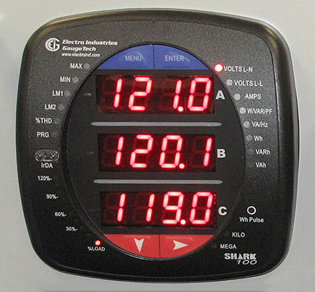 A photo of a digital multimeter showing the voltages of three phases at the same time.