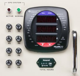 A photo of a PDU control  panel with an advanced power quality meter.
