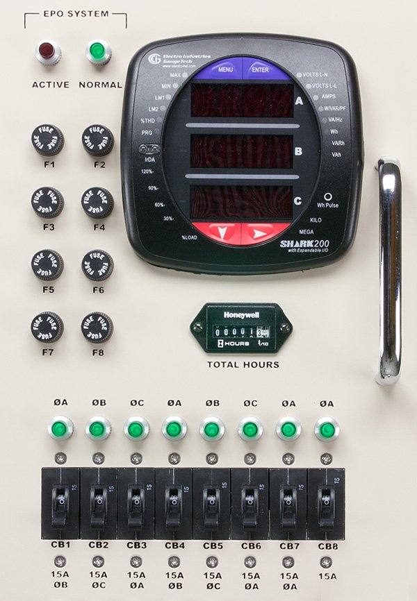 A photo ofa PDU control panel with a power meter.