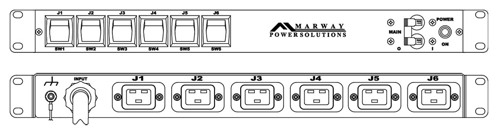 Product layout of front and back panels for Marway's MPD-85-012 Optima PDU.