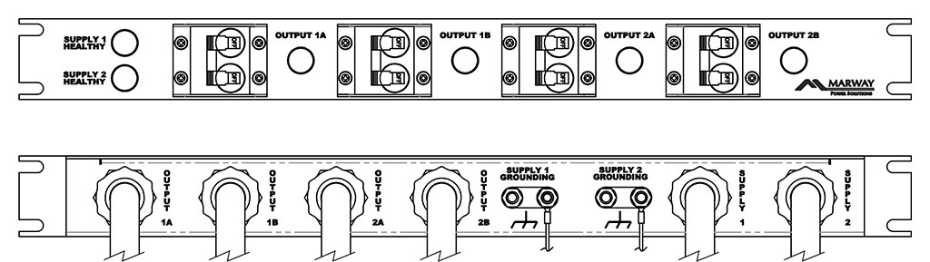 Product layout of front and back panels for Marway's MPD-411341-032 Optima PDU.