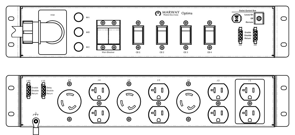 Product layout of front and back panels for Marway's MPD-532011-000 Optima PDU.