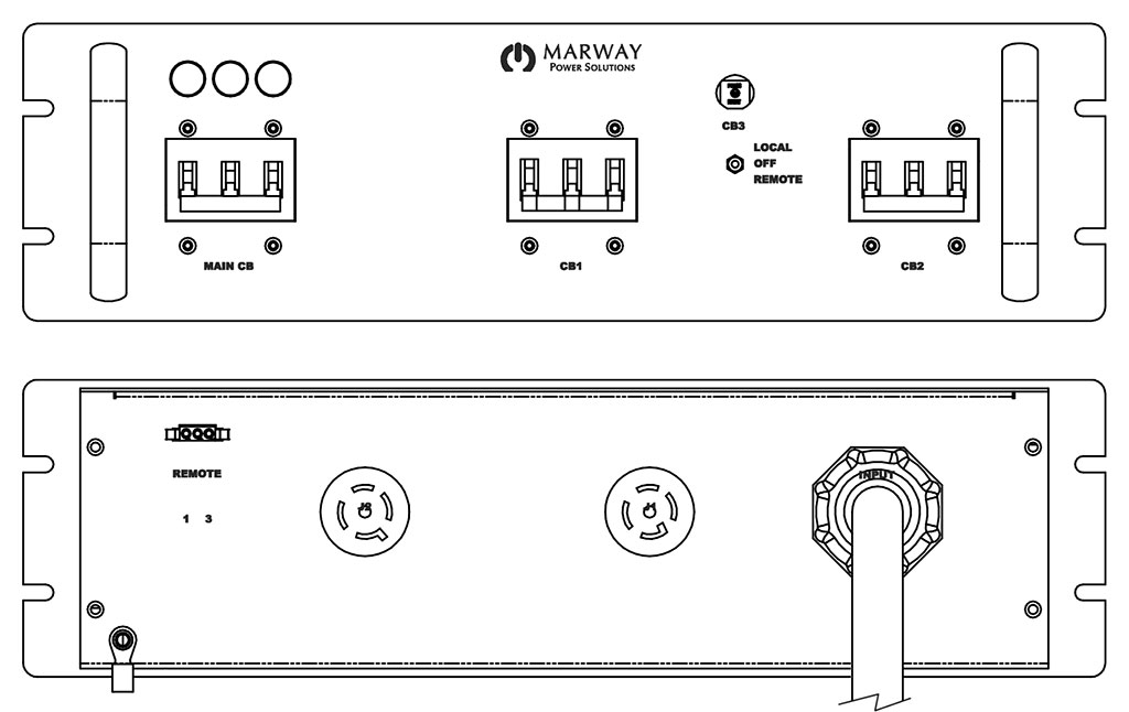Product layout of front and back panels for Marway's MPD-41621-205 Optima PDU.