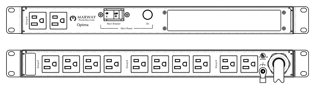 Product layout of front and back panels for Marway's MPD-520064-000 Optima PDU.