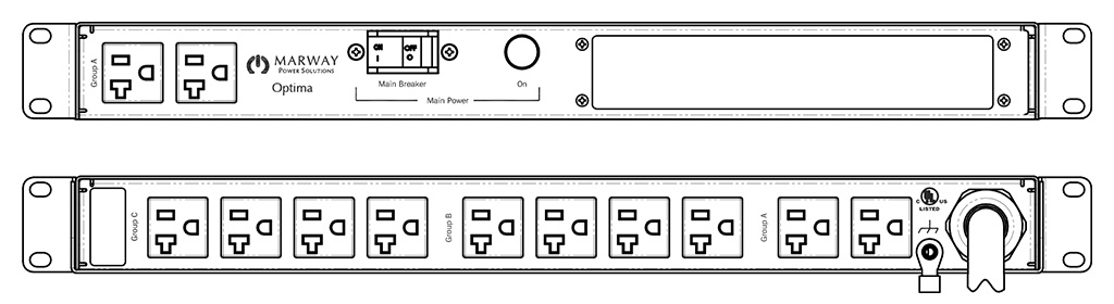 Product layout of front and back panels for Marway's MPD-520025-000 Optima PDU.