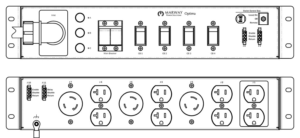 Product layout of front and back panels for Marway's MPD-532010-000 Optima PDU.