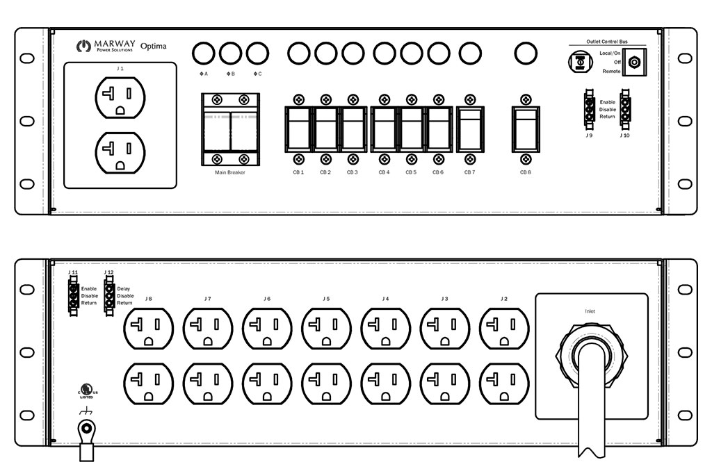 Product layout of front and back panels for Marway's MPD-533010-000 Optima PDU.