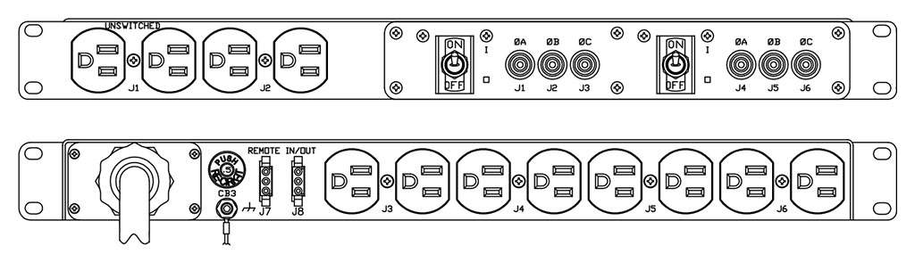 Product layout of front and back panels for Marway's MPD-103R-007 Optima PDU.
